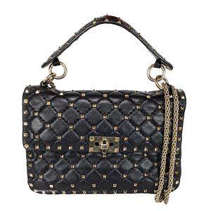 Valentino Black Medium Rockstud Spike Chain Bag